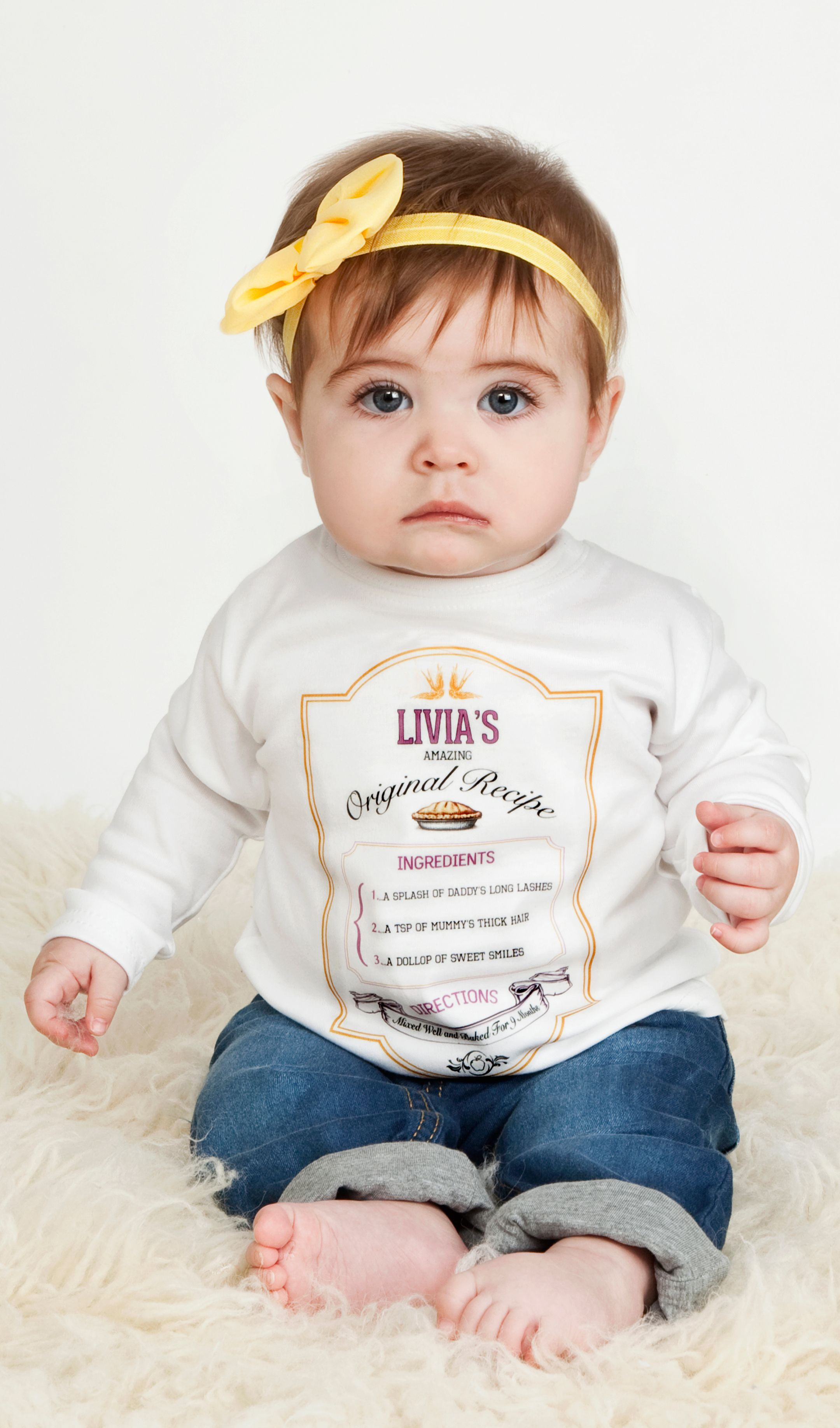Baby boy hair long vintage design on tshirt  customised recipe for baby  harlius