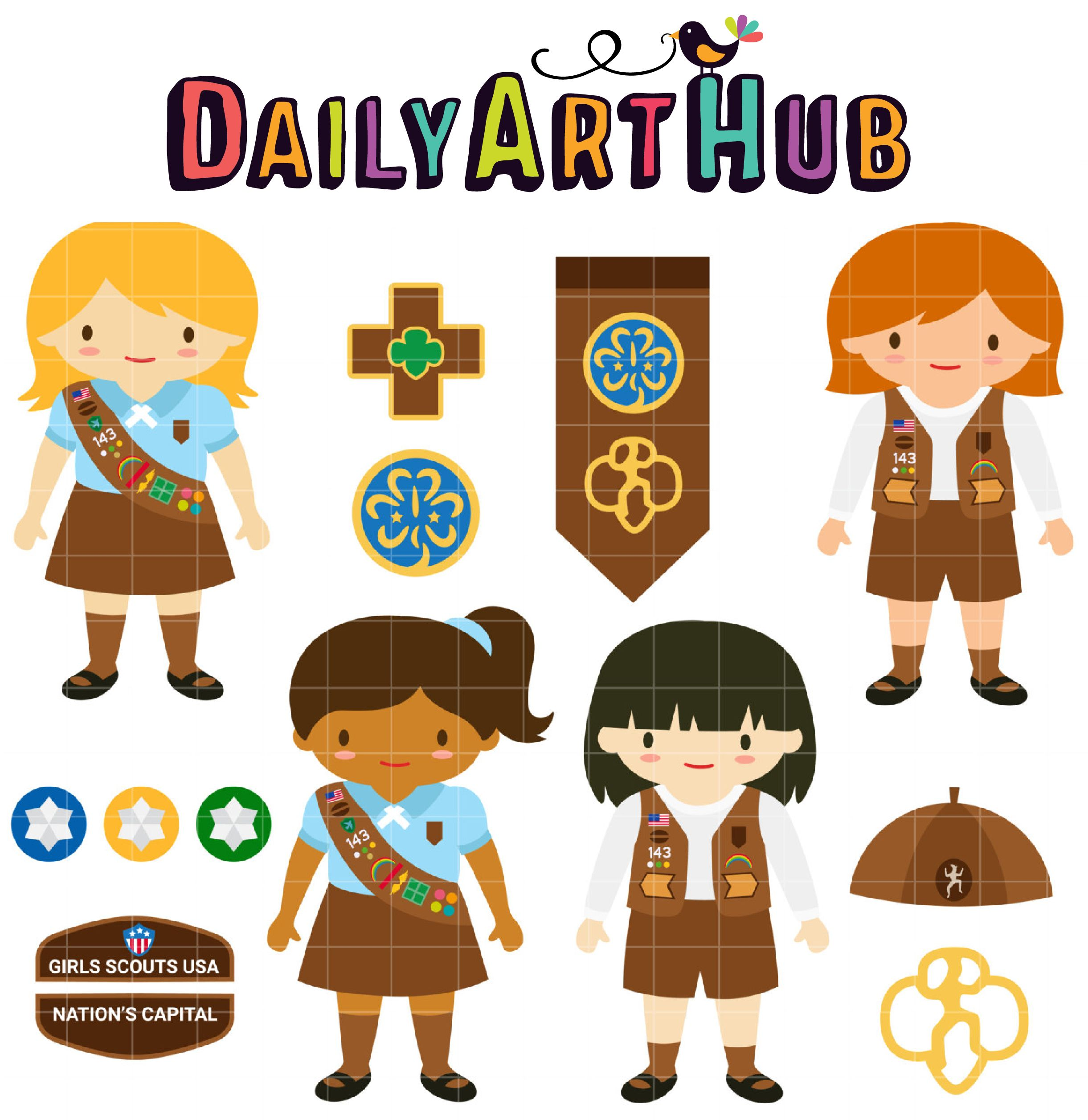 Brownie Girl Scouts Clip Art Set