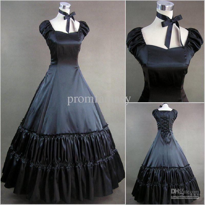Vintage Victorian Gothic Black Ball Gown Flounces Party Cosplay Costume Dress