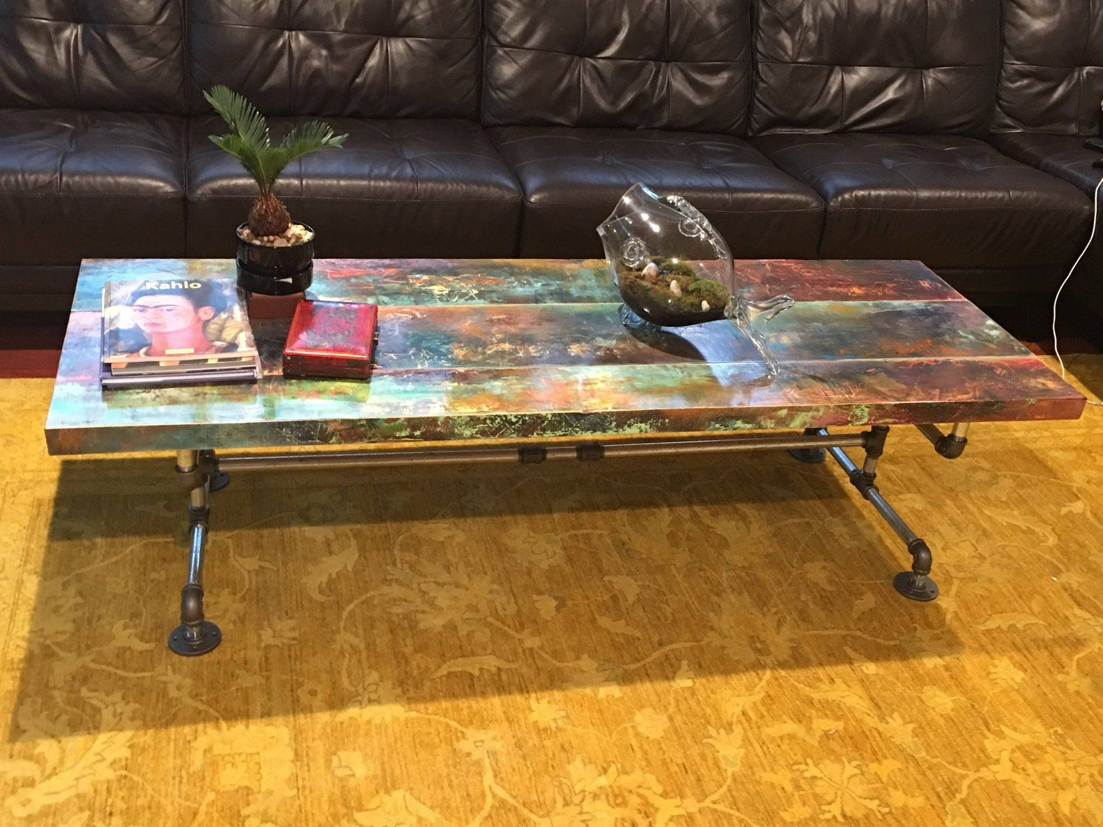 - Custom Coffee Table Colorful Bronze Copper And Iron Patina Etsy