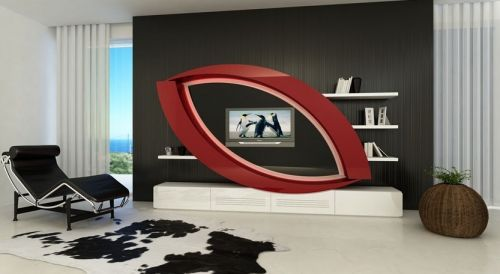 Mueble de salón con estante moderno. Un diseño fuera de lo ...