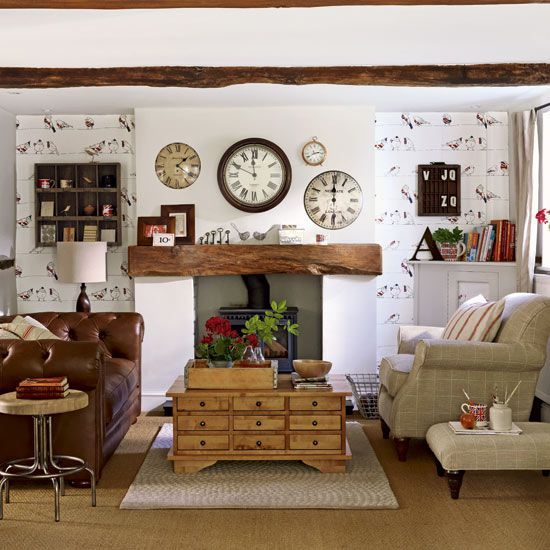 old country decorations | Classic country cottage decorating in brown and  white living room