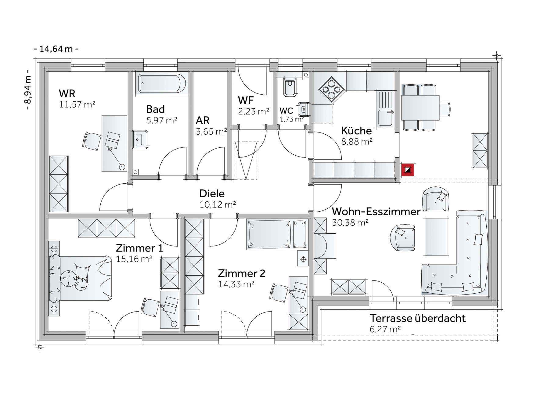 fertighaus bungalow family vii neues haus pinterest grundrisse h uschen grundrisse und. Black Bedroom Furniture Sets. Home Design Ideas
