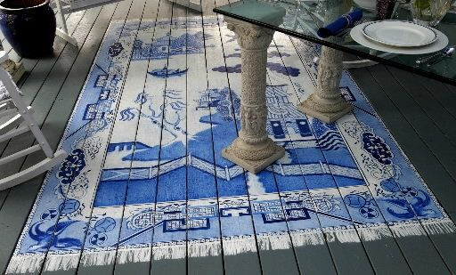 Painting A Rug On A Porch | Painted Porch Rug.