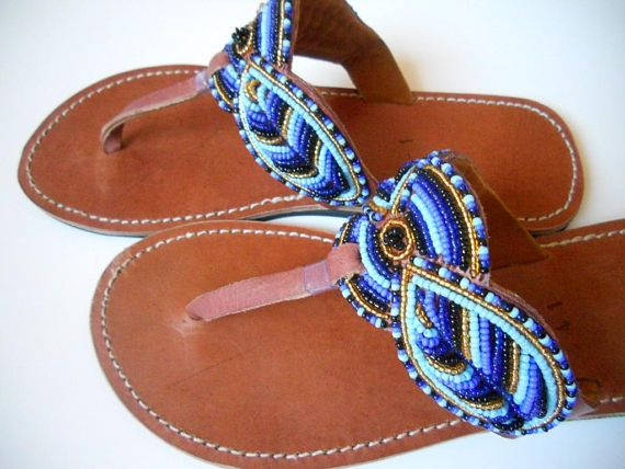 b32855bc6726bb Blue african sandals blue african shoes blue flat sandals