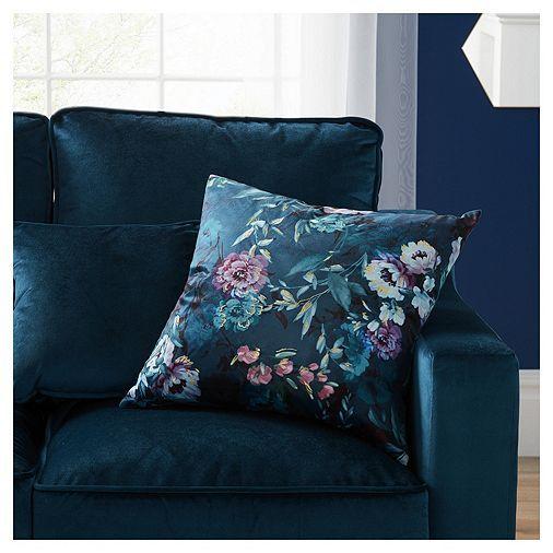 tesco direct fox ivy teal floral print cushion living. Black Bedroom Furniture Sets. Home Design Ideas