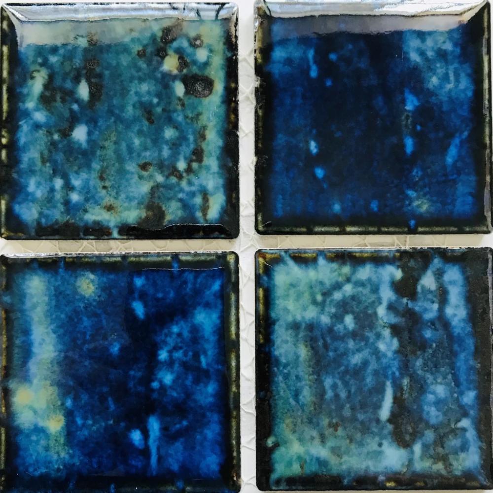 Fujiwa Porcelain Swimming Pool Waterline Tile VIPS-924 MARBLE BLUE 3 X 3 1.08 SQ FT Sheet Pack of 2,