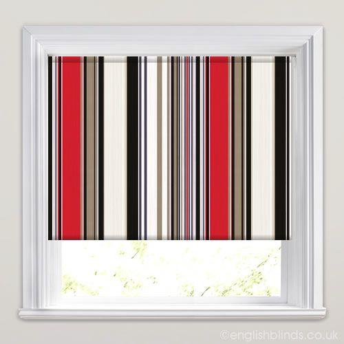 Holiday Stripe Cranberry Roller Blind