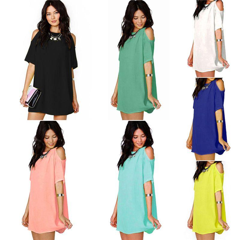 275739687255 Plus Size Women Off Shoulder Mini Dress Chiffon Baggy Tee Shirts Blouse Tops