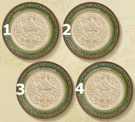 Celtic Dessert Plates - 4 Assorted Styles as shown. 1. Happiness. 2. & Celtic Dessert Plates - 4 Assorted Styles as shown. 1. Happiness. 2 ...