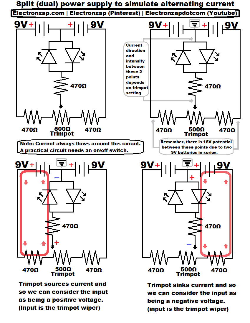 Schematic diagrams used in my recent videos of a split power supply ...