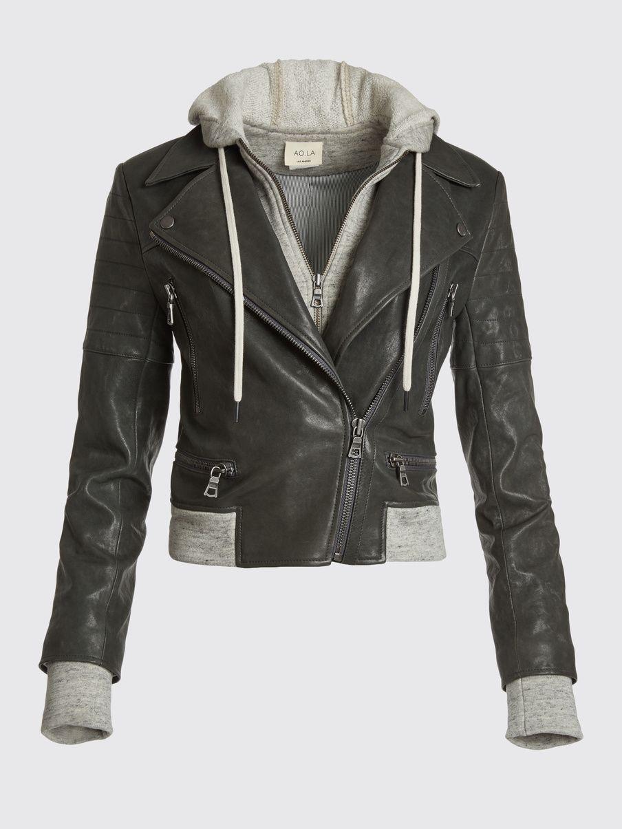 Avril Hood Combo Sweatshirt Leather Jacket Alice Olivia Leather Jacket With Hood Leather Jacket Leather Jacket Hoodie [ 1205 x 904 Pixel ]