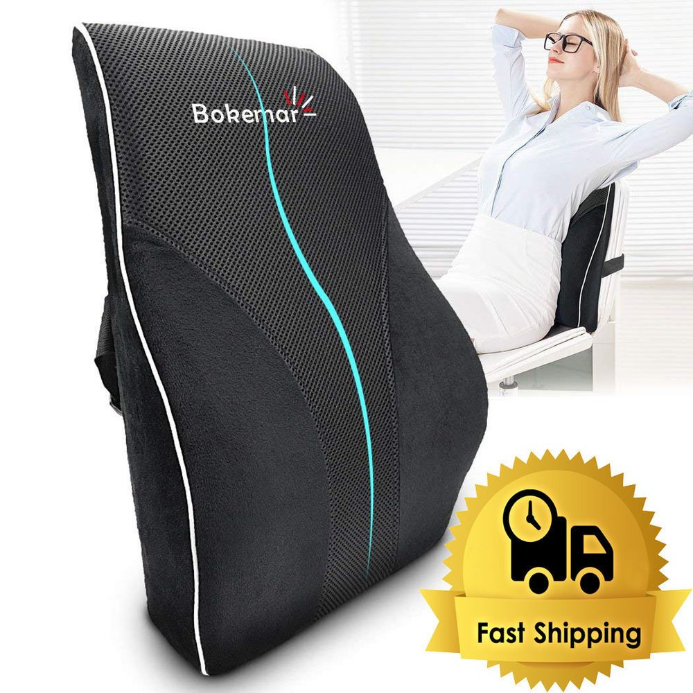 Lumbar support pillow seat chair back cushion memory foam ergonomic