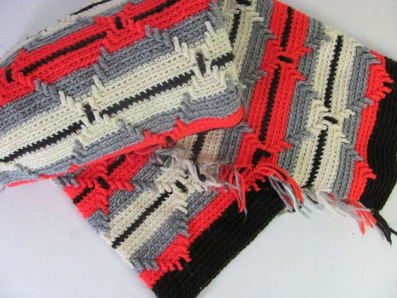 vintage gray brown white and red striped by dirtybirdiesvintage, $24.00