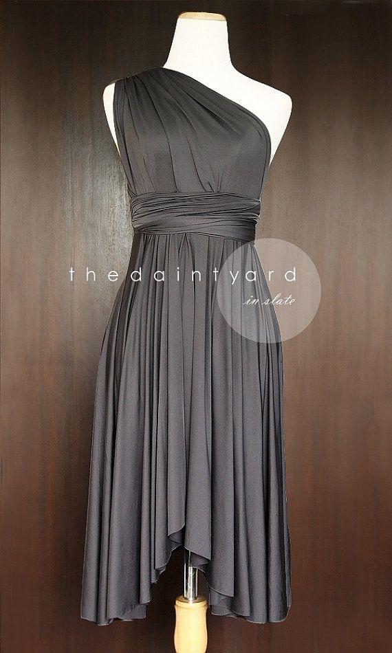 d3ea03d2ef7 TDY Slate Short Asymmetrical Bridesmaid Dress Convertible Dress ...