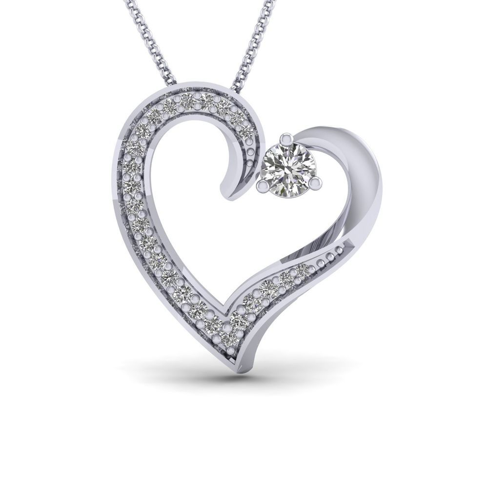 1 3 Ct Real Diamond Solid 10k White Gold Heart Pendant 16 Chain Valentine S Day Heart Pendant Diamond Diamond Heart Pendant Necklace White Gold Earrings Studs