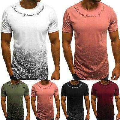 Men Casual Fitness Muscle Tops Basic Tee Slim Fit T Shirt Printed Summer Sports