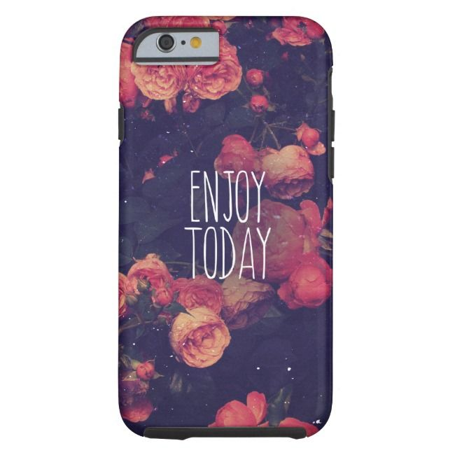 "Cool Girly Pink Roses Vintage ""Enjoy Today"" Photo Case-Mate iPhone Case 