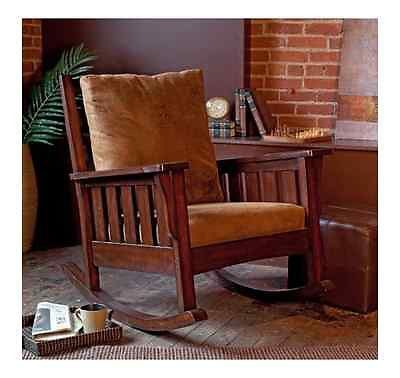 Mission Style Rocker Rocking Chair Furniture Indoor Cushions Sturdy Walnut  Brown