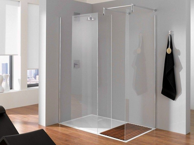 Crystal shower wall panel BETTENTRY Shower enclosure Collection by Bette | design Molldesign