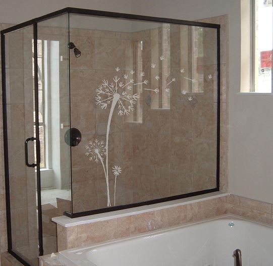 Dandelion decal etched glass vinyl wall art for Door vinyl design