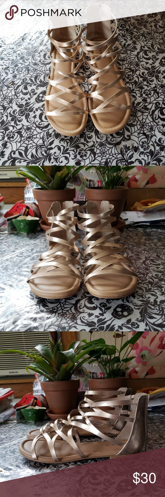 0a8f653f31b Torrid Gladiator Sandals (Wide Width) Too wide for my ankles   too tall for  my feet. Beautiful metallic rose gold color. Worn once  in immaculate  condition.