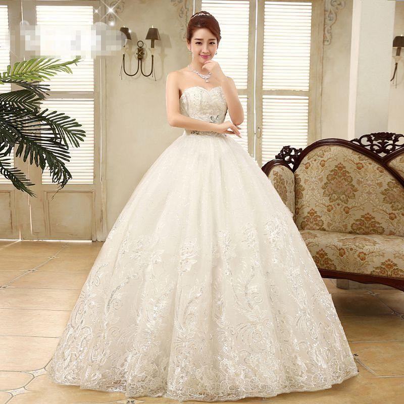 740b327e9f Cheap White Princess Wedding Frocks Vestidos De Novia Sequins Strapless  Lace Wedding Dresses Bride Frocks #