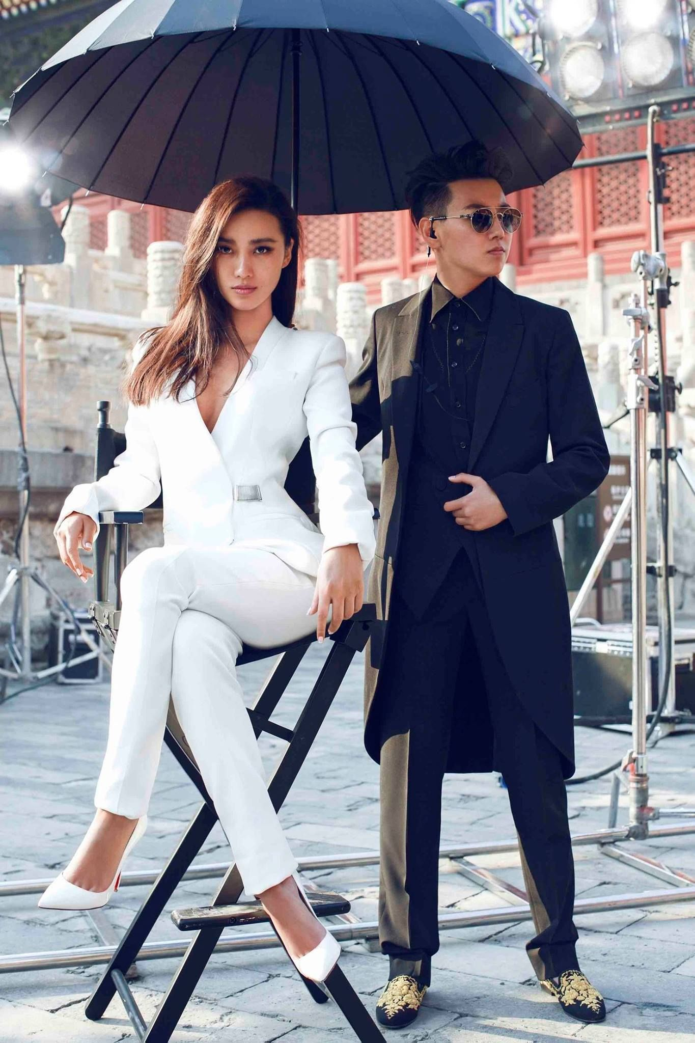 White pantsuit and white pumps as seen on fashion photographer Chen Man for Harper's Bazaar China 2015 // Alternate wedding outfit inspiration