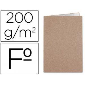 Subcarpeta de cartulina Kraft Folio tabaco/blanco (50 uds.)