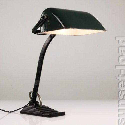 Alte Horax Banker Lampe Emaille Emailliert Sur Leuchte 20er 30er Jahre Vintage Schreibtischlampe Lampenlicht Lampendesign