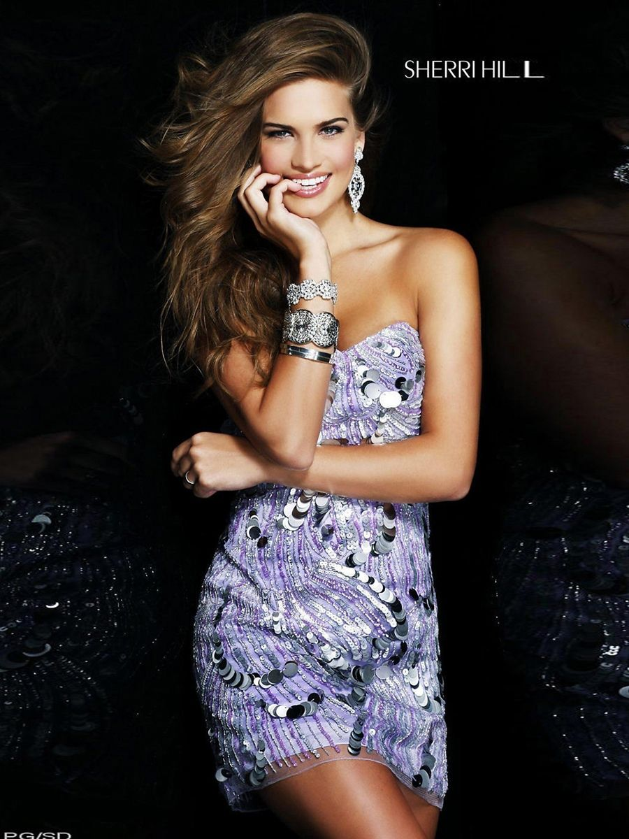 Lilac organza sheath style strapless sweetheart sequined trim