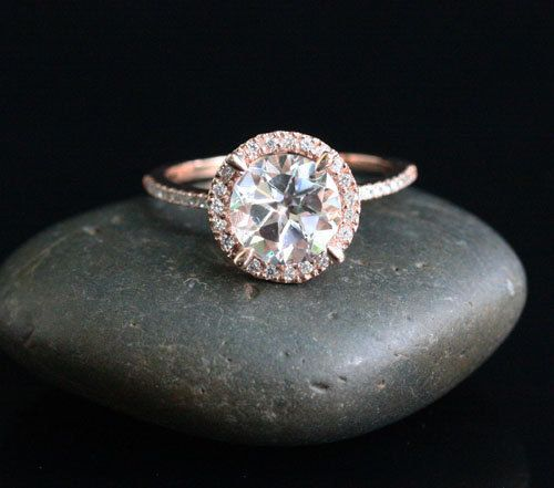 14k Rose Gold 8mm White Topaz Round and by Twoperidotbirds on Etsy