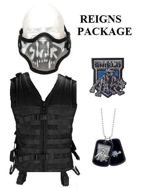 Wwe The Shield Costume Tactical Vest Skull Mask Dog Tag Roman Reigns