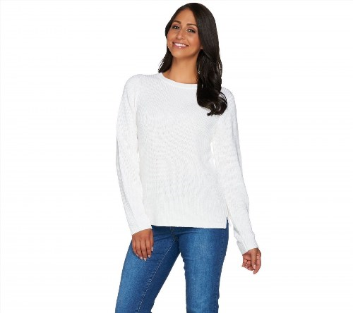 44.53$  Buy here - http://vifqf.justgood.pw/vig/item.php?t=3qtuha33329 - Linea Leisure Louis Dell'Olio Ribbed Sweater Winter White Regular L NEW A279525