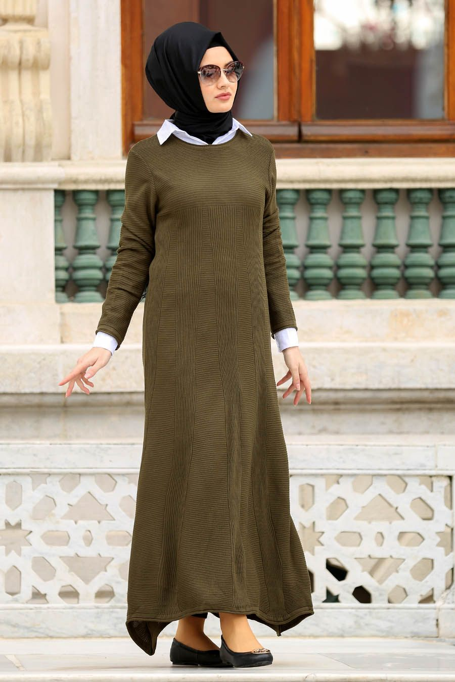 Modaselvim Elbise Kolyeli Triko Tesettur Elbise 5047ef311 Kiremit Tesettur T Harika Model Elbise Triko The Dress