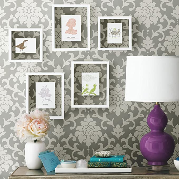 Roommates Gray Damask Peel And Stick Wallpaper Amazon Com Peel And Stick Wallpaper Damask Wall Room Visualizer