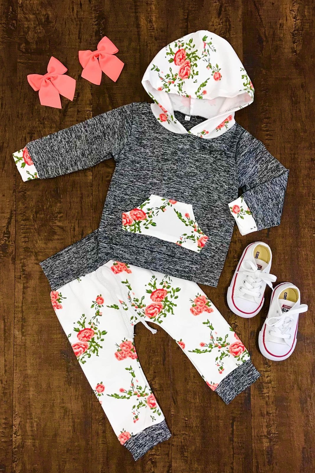 c6a166937 US Stock Newborn Infant Baby Girls Hoodie Tops Floral Pants Clothes ...