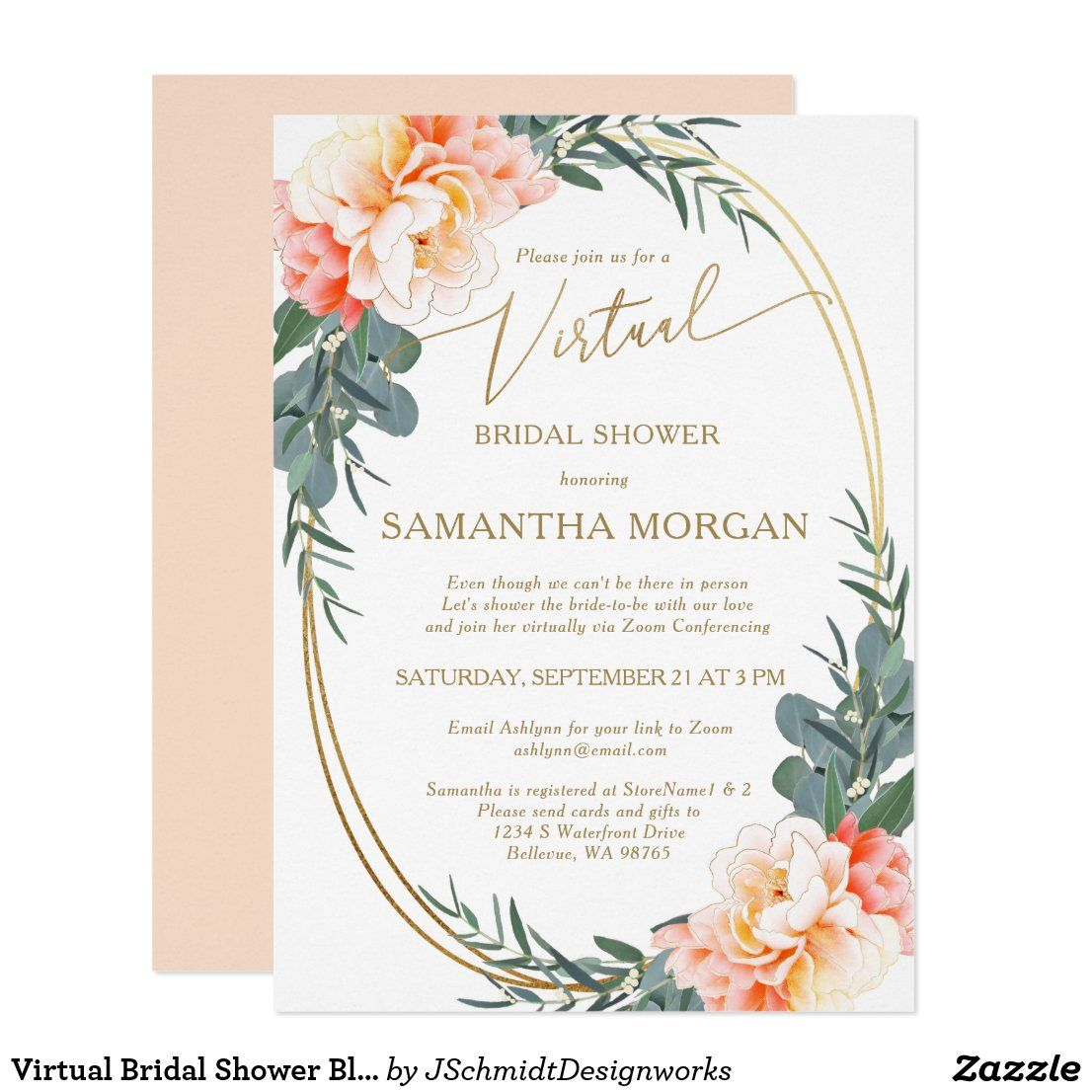 Virtual Bridal Shower Blush Peach Cream Eucalyptus Invitation Zazzle Com In 2020 Bridal Shower Invitations Printable Bridal Shower Invitation Wording Bridal Shower Invitations Printable Free