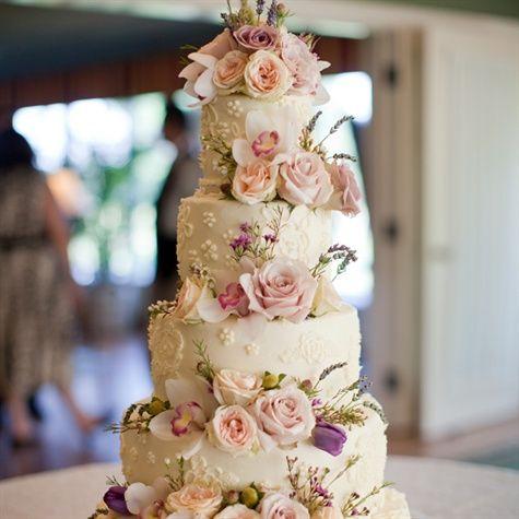 Rose Adorned Wedding Cake