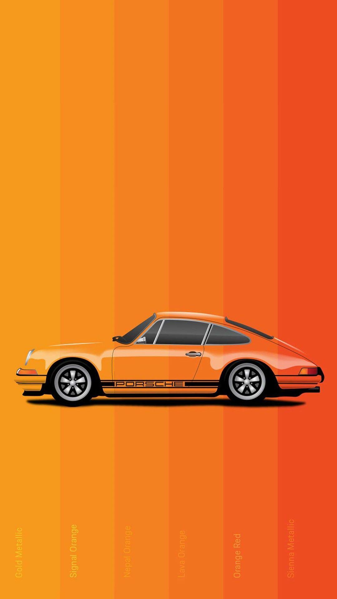Orange Porsche Car Wallpaper 1080x1920 Car Wallpapers Car Iphone Wallpaper Porsche Cars
