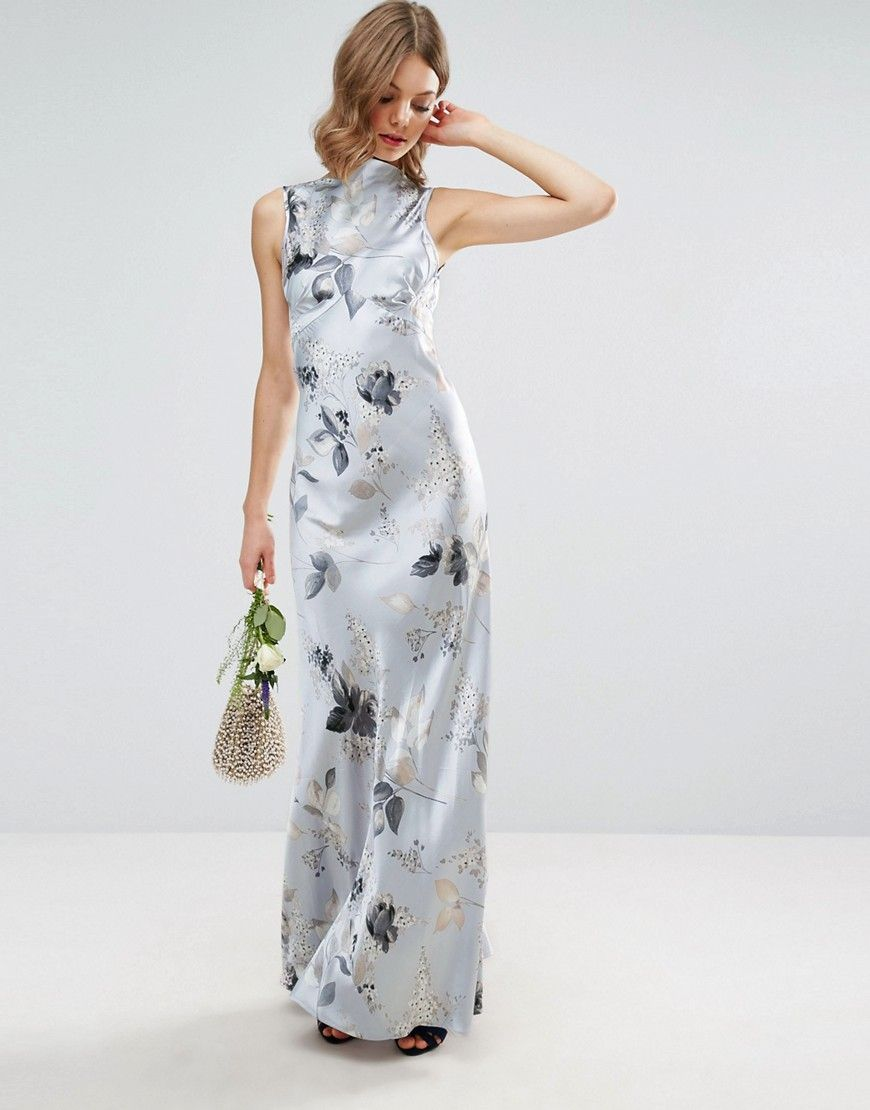 Asos wedding s seamed maxi dress in silver rose print multi