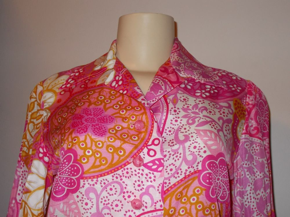 1970s WOMENs HANDMADE PINK PSYCHEDELIC PAISLEY FLORAL BLOUSE SKIRT 2 PCS #Handmade