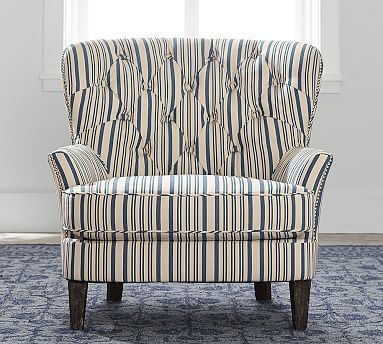 Cardiff Upholstered Tufted Armchair With Nailhead   Antique Stripe # Potterybarn Everyday Chair