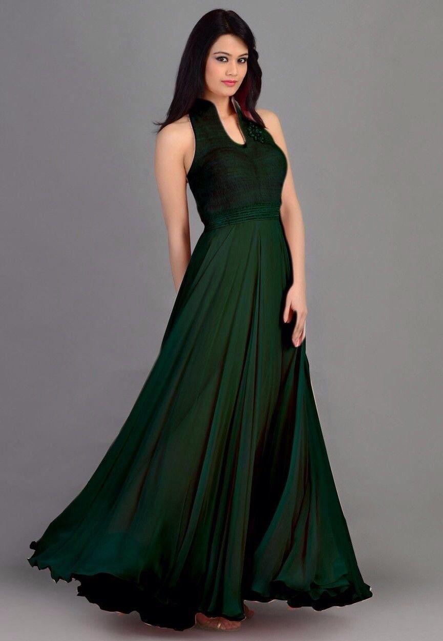 Bottle Green Colour Party Gowns | fashionsquare | Pinterest ...