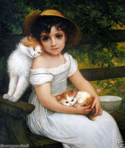 LITTLE GIRL FEEDING CAT KITTEN MILK PET ANIMAL ART PAINTING REAL CANVAS PRINT