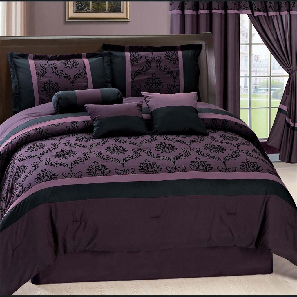 Purple Laviano Flocking Comforter Set Queen W Matching Curtains