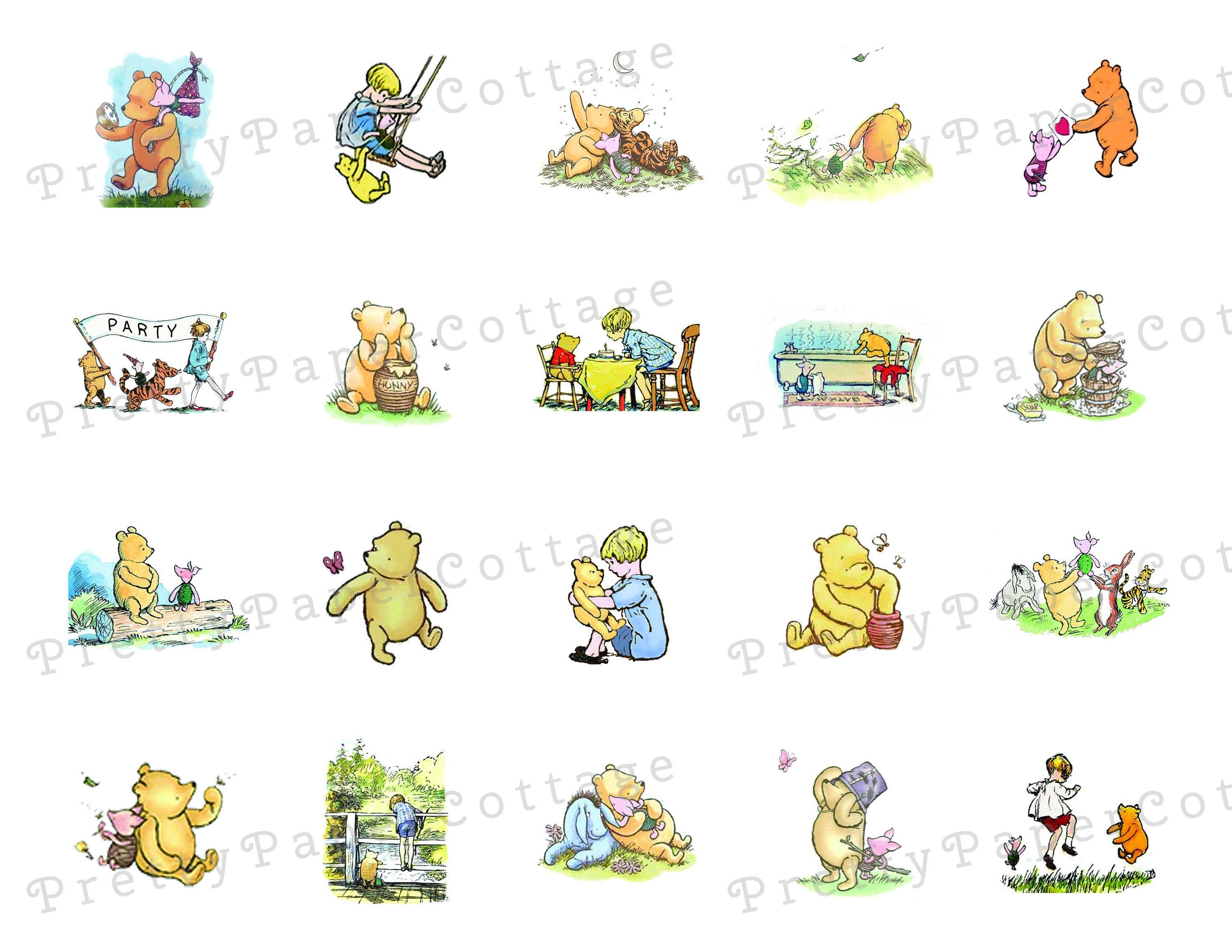 Printable Winnie The Pooh Designs Tags Stickers Cupcake Toppers Digital Instant Download Jpg 1 With Circles 1 Without Si In 2020 Winnie The Pooh Winnie Pooh