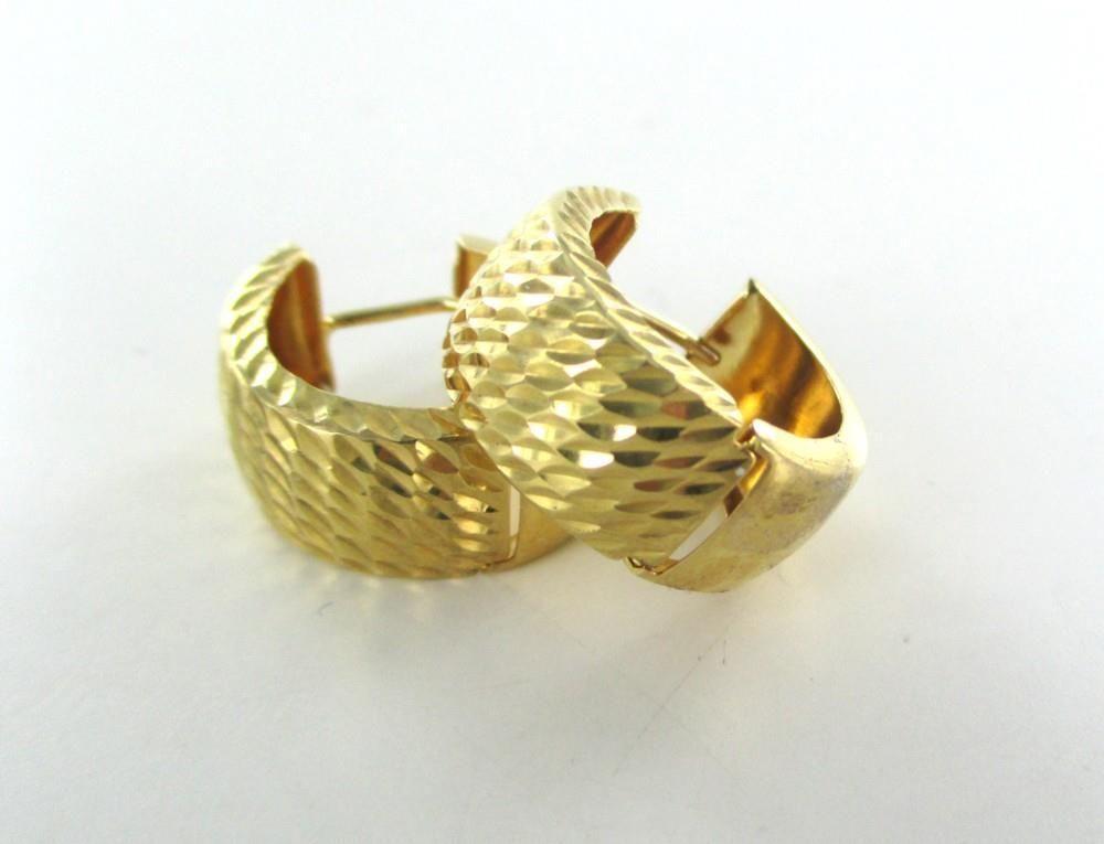 18KT YELLOW GOLD EARRINGS HOOP DIAMOND CUT FINE JEWELRY JEWEL NO SCRAP LUXURY