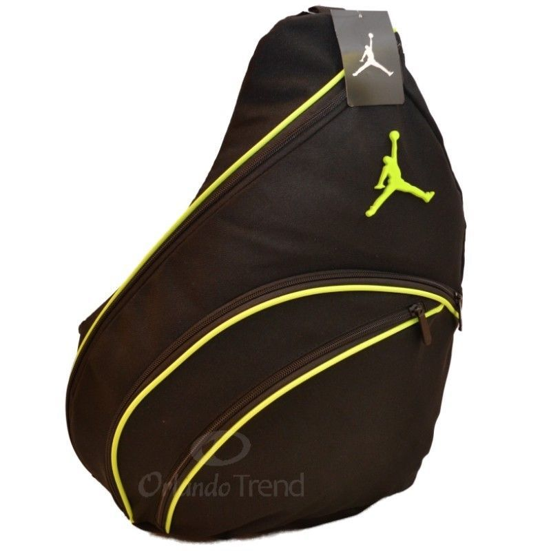 Nike Air Jordan Black Green Sling Backpack Jumpman Gym Book Bag Mens Boy New