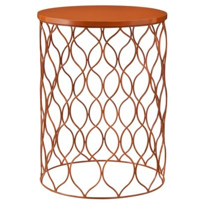 Wave metal side table orange living room accent - Metal side tables for living room ...